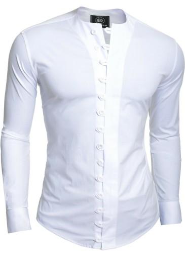 Koszula Męska Bez Kołnierza Comfort Slim Prezent