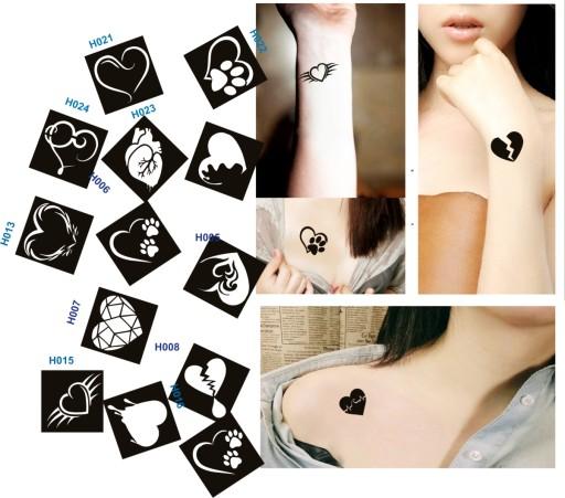 Serce Szablony Tatuazy Henna Brokat Heart Duze Big 8275334373 Allegro Pl