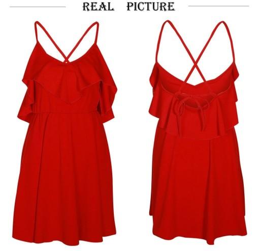 b4934a768e sukienka na LATO SEXY czerwona lekka wiązana S 36 7924998311 ...