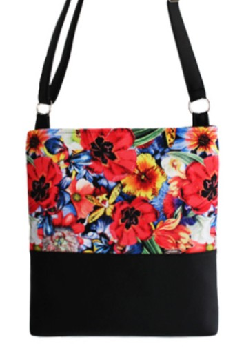 Modna torba torebka listonoszka czarna maki A4
