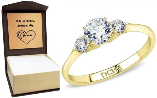 Złoty pierścionek zaręczynowy SAY YES grawer r. 14