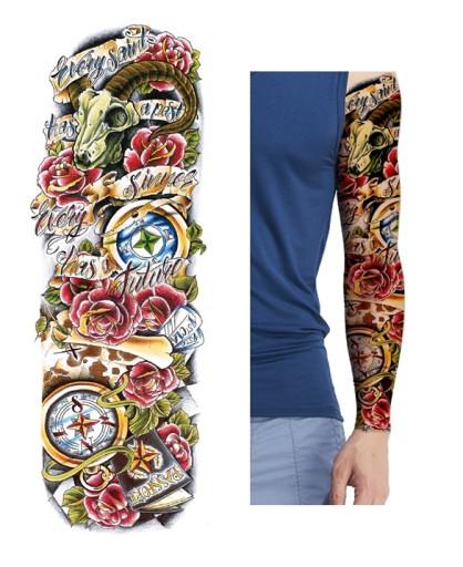 R09 Tatuaż Zmywalny Tymczasowy Rękaw Kwiaty Róża
