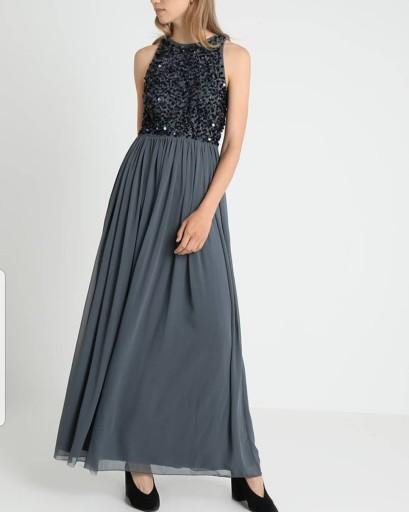 Suknia balowa wieczorowa długa szara cekiny S