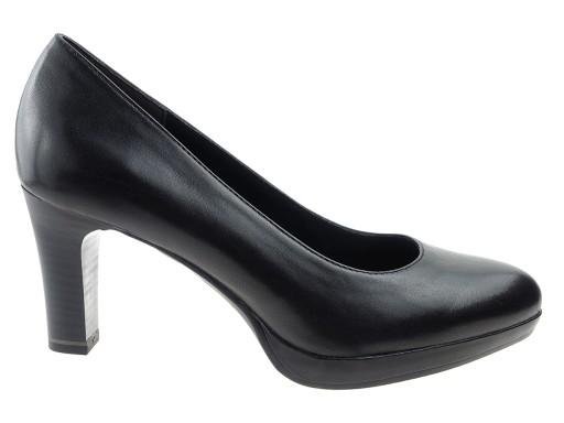 Tamaris buty czółenka 22410 czarne skóra 37