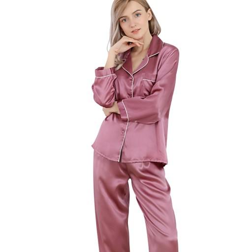 Jedwabna Piżama Nocna Koszula Spodnie koszulka PPM