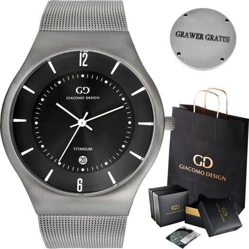 Tytanowy zegarek męski Giacomo Design GD12 3 WZORY