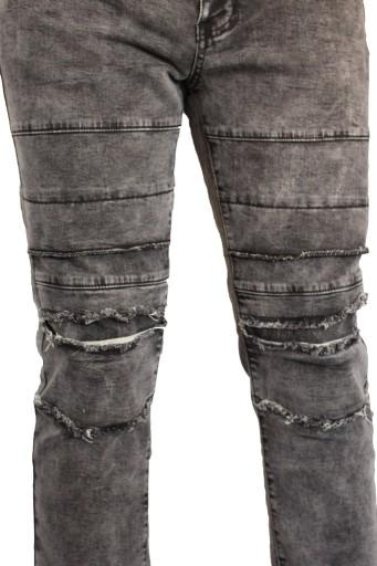 Spodnie jeansy, dzinsy, męskie Stalowe darte cięte 8645032201 Odzież Męska Spodnie LA OKLGLA-1