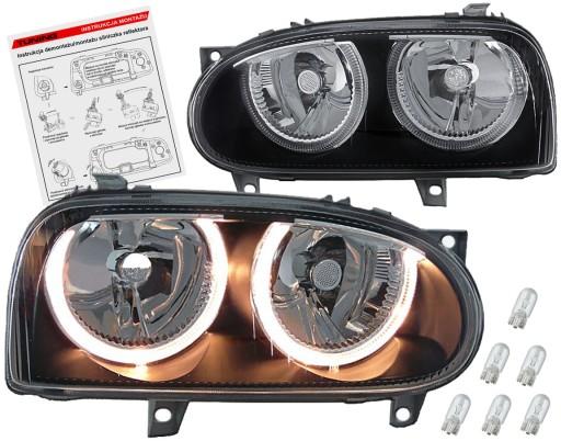 Vw Golf Iii Mk3 Lampy Reflektory Black H7 H7 Ringi Ilawa Allegro Pl