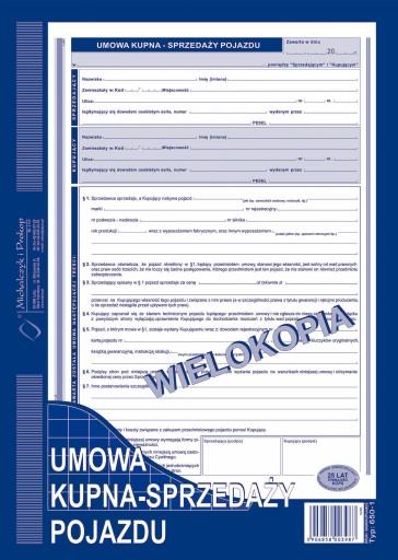 Umowa Kupna Sprzedazy Pojazdu Wielokopia A4 650 1 6677857746 Allegro Pl
