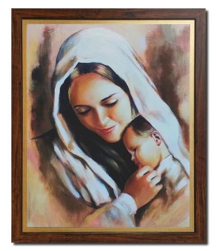 Fantastyczny DUŻY Obraz MARYJA MATKA BOSKA Z DZIECIĄTKIEM JEZUS 7401286309 ZO56