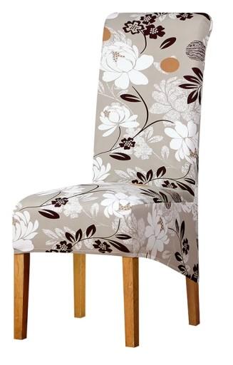 Pokrowiec Na Krzeslo Xl Bezowy Wzory Elastyczny 8681258639 Allegro Pl