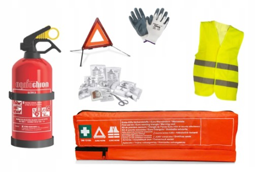 A SET CAR FIRE EXTINGUISHER 1 KG, TRIANGLE FIRST AID KIT