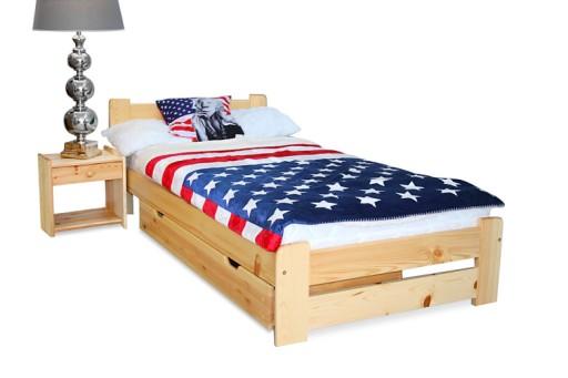 łóżko Drewniane Sosnowe Eureka 90x200 Pojedyncze