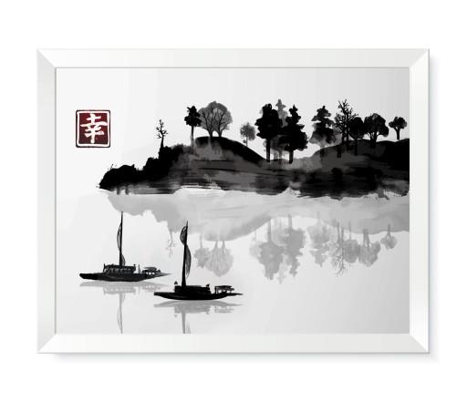 Obraz na ścianę z piękną grafiką japońską w ramce
