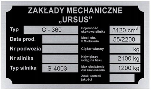 ТАБЛИЦА ИМЯ ТАБЛИЦЫ URSUS C 360 C360 - wybita