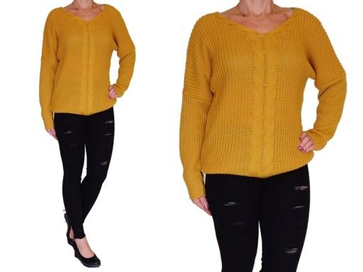 Sweter bluzka MIODOWA w serek Rozmiar M