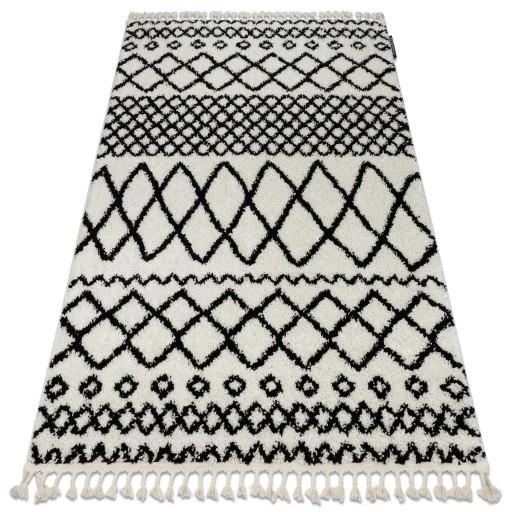 Dywan BOHO shaggy 120x170 biały frędzle #GR2818