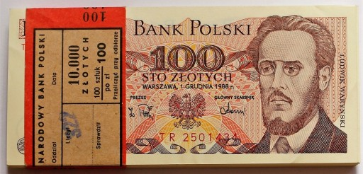 100 zł - Waryński - SP - 1986 - UNC z paczki