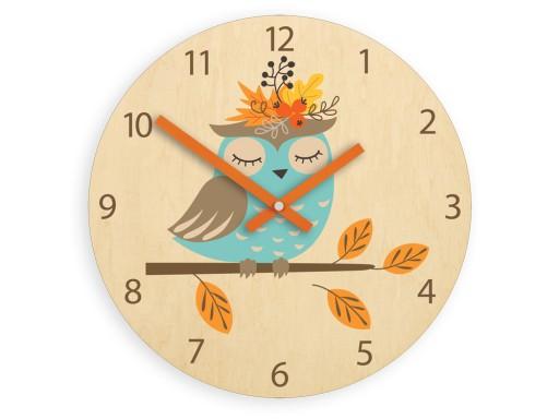 Zegar ścienny do pokoju dziecka SOWA 30cm CICHY
