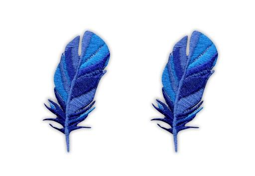 Naszywka -Zestaw piór- niebieskie, pióra, HAFT