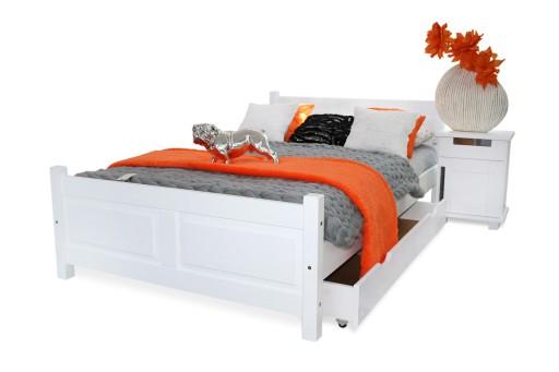 łóżko Drewniane Lena 140x200 Stelaż Materac Spręży