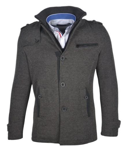Płaszcz męski jednorzędowy klasyk szary EX1909 3XL