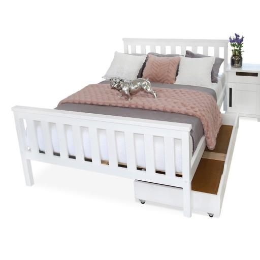 łóżko Drewniane Sosnowe Iza 160x200 Białe Stelaż
