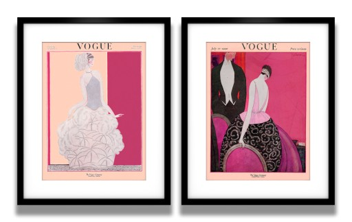 Vogue Plakaty Retro Jazz Super 2 Sztuki Fuksja