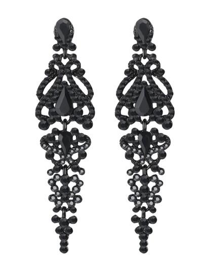 Kolczyki długie czarne CYRKONIE kryształki