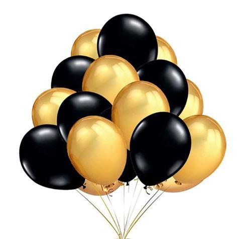 Balony Metaliczne Czarne Zlote Wesele Urodziny 10 8444233355 Allegro Pl