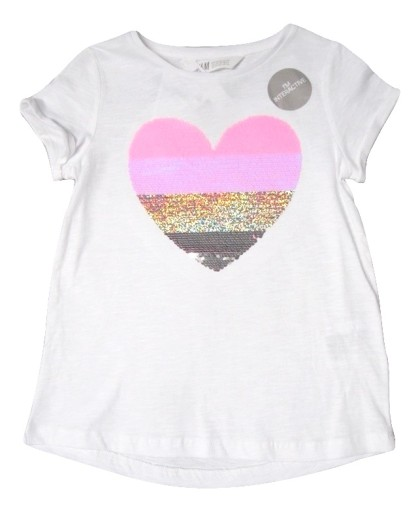 H&M t-shirt top odwracalne cekiny SERCE 104