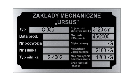 TABLE TABLE NAME URSUS C 355 C355 - WYBITA
