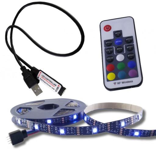 ZESTAW taśma LED RGB 5V USB podświetlenie TV 1m