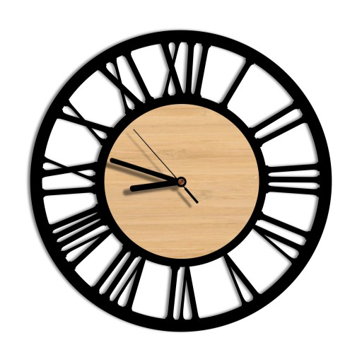 zegar ścienny Vintage Loft cichy duży 3D drewno