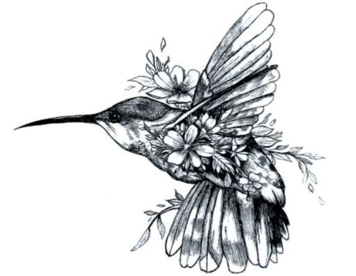 Tatuaż Tymczasowy Ptak Koliber Z Kwiatami M65