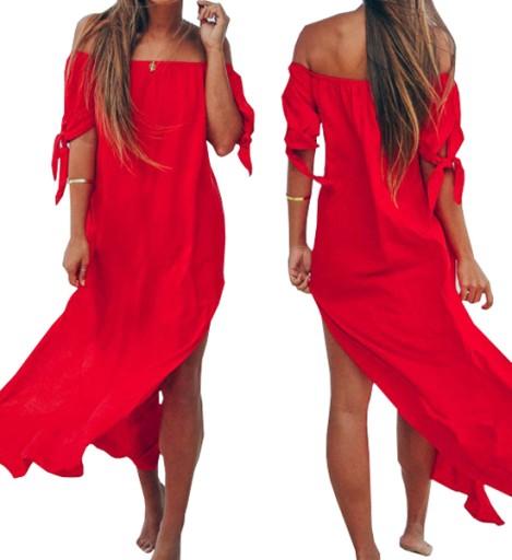 Dluga Tunika Plazowa Zwiewna Sukienka Maxi Kolory 8458404111 Allegro Pl
