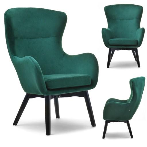 Oryginalny Fotel Welurowy Do Salonu Leta Zielony