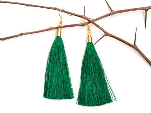 Kolczyki wiszące zielone chwost frędzel BOHO 112