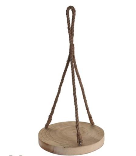KWIETNIK WISZĄCY SZNUR 32cm Drewniany PLASTER
