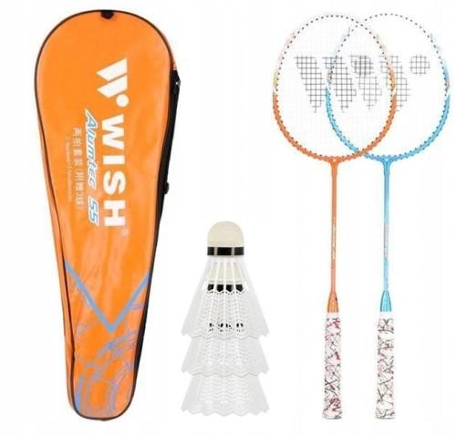 Zestaw do badmintona 55K Rakiety 2szt Lotki 3szt