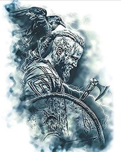 Wiking Wojownik Tatuaż Kalkomania Kruk Tm111121