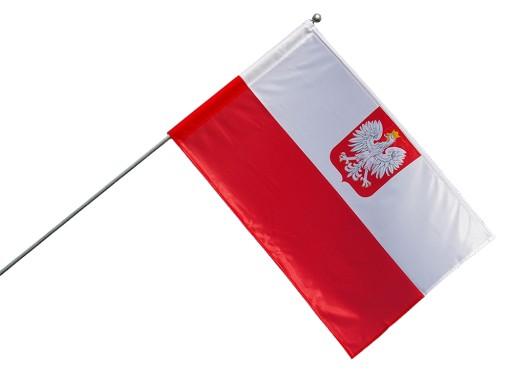 Zestaw DOBRA FLAGA z flagą polską z herbem-70x112
