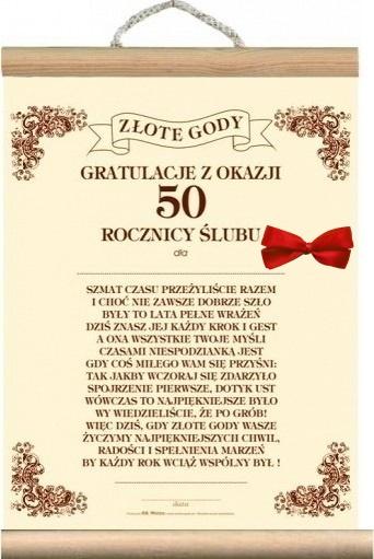 Dyplom życzenia 50 Rocznicę ślubu Złote Gody 50