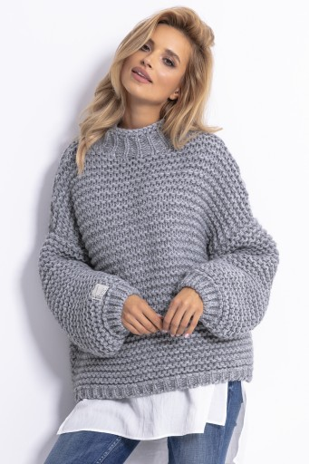 Sweter Gruby Oversize Kardigan Cieply Szary L Xl 8661185707 Allegro Pl