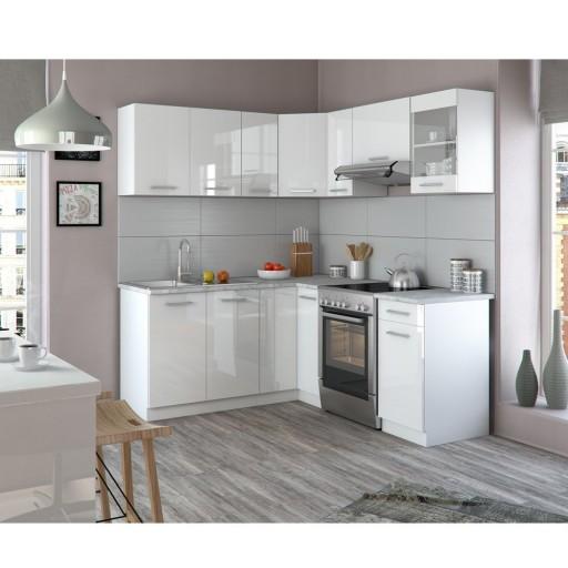 Kuchnia Narożna 190 X 170 Cm Biała Wysoki Połysk