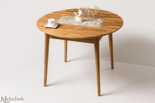 Stół Dębowy Okrągły 100 Cm Rozkładany Lity Dąb 7459465274