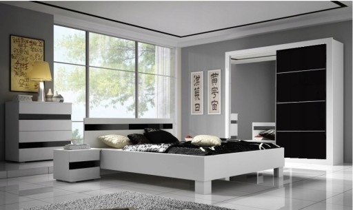 Meble Sypialni Zestaw łóżkiem Szafa Biały Lustrem