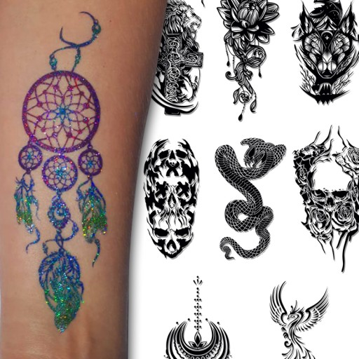 Szablony Tatuaże Henna Brokat Zmywalne Quicktattoo