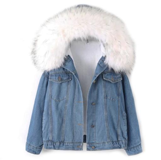 KURTKA jeansowa OCIEPLANA zimowa Z FUTERKIEM M38