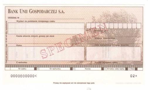 czek specimen Bank Unii Gospodarczej BUG6